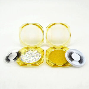 Faux Mink lash S17q in clear yellow lash box wholesale by eyelash vendors china