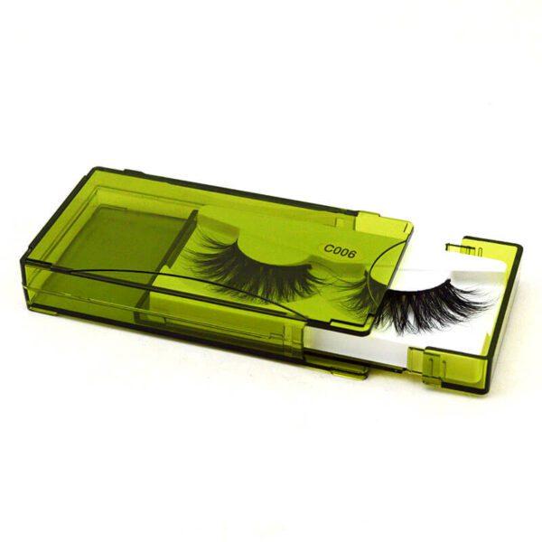 Wispy Mink Lashes S26Q in green lash case Bulk Wholesale